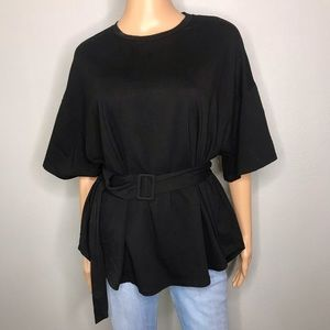 Cotton belted drop shoulder top